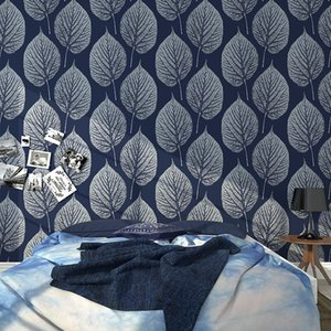 Wholesale Modern leaves with Shimmer Tones Effect PVC wallpaper roll black white blue living room Rustic