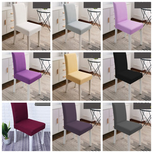 Chair Cover Solid Elastic Chair Seat Slipcover Kitchen Seat Case Stretch Chair Covers Dining Room Wedding Party Hotel Decor YW3526