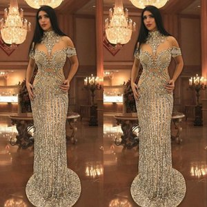 Wholesale Arabic Rhinestone Crystals Evening Dresses High Neck Beads Short Sleeve Sparkly Mermaid Prom Dress Stunning Dubai Celebrity Dresses