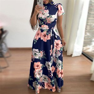 Wholesale Rogi Summer Long Dress Floral Print Boho Beach Dress Tunic Maxi Dress Women Elegant Evening Party Dresses Vestidos Verano Y19051001