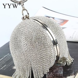 Wholesale Sliver Diamonds Rhinestone Round Ball Evening Bags For Women Fashion Mini Tassels Clutch Bag Ladies Ring Handbag Clutches