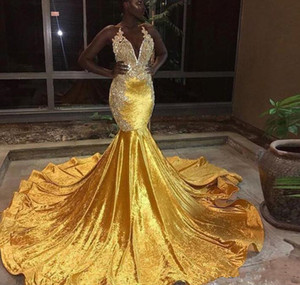 Wholesale 2019 Nigeria Sexy Deep V Neck Gold Mermaid Prom Dresses halter lace appliques Formal Evening Gowns Sparkly Sequined Celebrity Party Dresses
