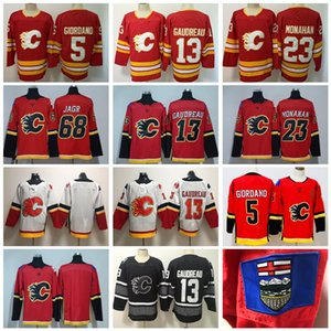 orange 18 jersey großhandel-Calgary Flames Johnny Gaudreau Trikots James Neal Hockey Mark Giordano Sean Monahan Jaromir Jagr Rot Weiß Orange Mann