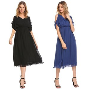 Wholesale Fashion New Women Ruffles Short Sleeve Cold Shoulder Solid Chiffon Long Dress V-Back Fashion Clothing, Shoes & Accessories prom