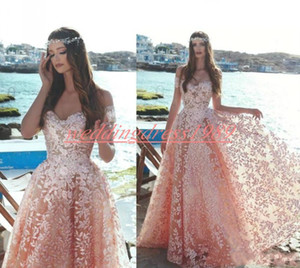 Wholesale Exquisite Lace Pink Evening Dress Off Shoulder Flower 2020 Said Mhamad Party Plus Size Prom Special Occasion Formal Ball Robe De Soiree