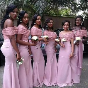 Wholesale African Pink Mermaid Bridesmaids Dresses Sparkle Sequins Pleats Off Shoulder Long Wedding Guest Party Dresses Custom Made Guest Gowns