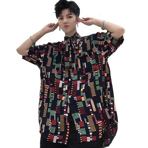 Wholesale Male Streetwear Hip Hop Party Dress Shirts Men Vintage Pattern Print Tie Bow Collar Short Sleeve Casual Shirt