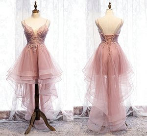 Blush High Low Lace Tulle Cocktail Party Dresses 2020 Applique Beaded Sequins Corset Back Draped Prom Dress Long Formal Evening Gowns on Sale