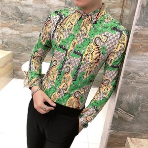 Wholesale Green Luxury Shirts Mens Social Young Men Shirts Prom Dress Slim Fit Cotton Gold Printed Social Club Outfit Party Dress Baroque
