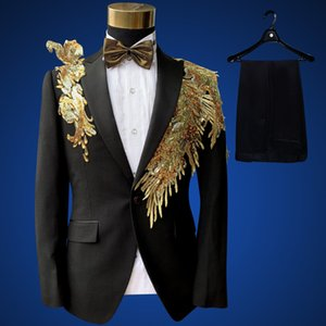 Wholesale Black gold Stage Suit Costume Homme Paillette Suit Party Event DJ Stage Costume Homme Slim Plus size