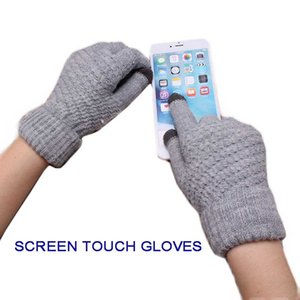 Solid Magic Touch Screen Gloves Women Men Warm Winter Stretch Knit Mittens Wool Full Finger Guantes Female Crochet Mitt Luvas Gloves