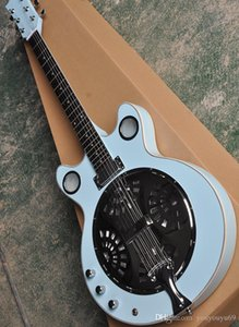 Wholesale 6 string left handed resonator light blue electric guitar with metal cap rosewood scale white lead providing personalized service
