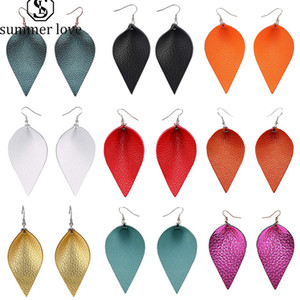fashion leaf leather earrings for women Colorful teardrop earrings girls cute party wedding earrings light weight jewelry accessories
