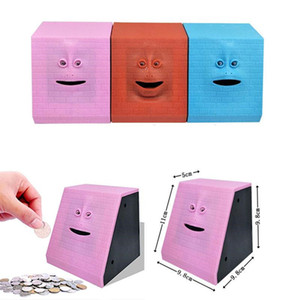 Wholesale Cartoon Human Face Smart Induction Piggy Bank Electric Coin Jar Eating Money Face Money Save Pot Coin Box children Creative Gift color