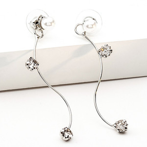 Wholesale Korean style flash diamond crystal pearl earrings s curve simple fashion Korean platform explosion models