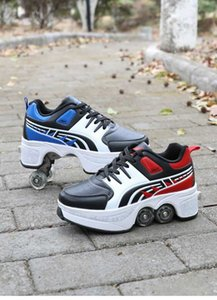 Wholesale 2019 new Angus lute shape-shifting shoes double row double roller skates automatic roller skates skateboard shoes