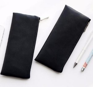 Fashion Black Pencil Case Cute Portable Leather school bag stationery pouch kids gift Office school Supplies