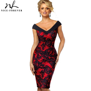 Wholesale Nice forever Vintage Contrast Color Elegant Flower Sexy Off Shoulder Vestidos Business Party Bodycon Sheath Women Dress B425 J190619