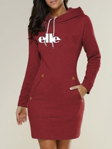 Wholesale Slim Type Dress Popular Hoodie Elle letters Hooded High Collar Women Long Sleeve Sweater