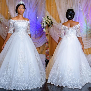 Luxury Sheer Half Sleeves African Wedding Dresses 2019 Applique Lace Ball Gown Arabic Dubai Church Wedding Bridal Gowns With Corset Back on Sale