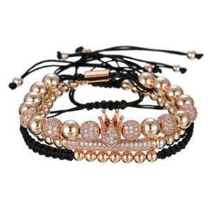 Wholesale Faitheasy Originality Personality Copper Beads Weave Micro Churn Drill The Ball An Crown Three piece Bracelet Set Male