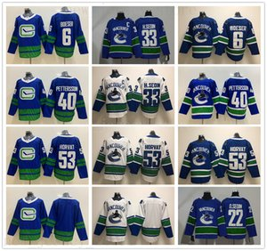 Wholesale New Vancouver Canucks Jerseys Hockey Elias Pettersson Jersey Bo Horvat Brock Boeser Daniel Henrik Sedin Blue White Stitched