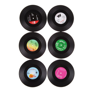 Wholesale Retro Home Table Cup Mat set set Creative CD Record Shaped Coffee Drink Tea Placemat Vinyl Coasters Random Color HHA720