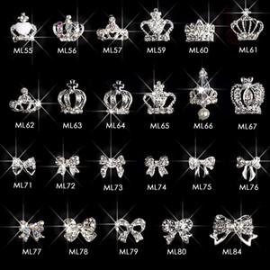 100pcs silver crown & bows rhinestone nail design alloy 3d DIY Crown nail art supplies pendant decorations accessories ML55-84