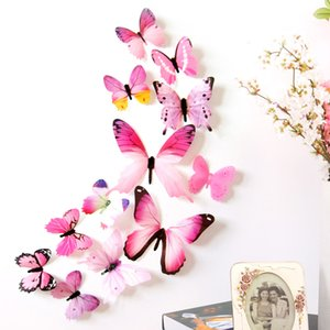 Wholesale 12pcs D Butterfly Wall Stickers Wall Decor for Party Kids room Nursery Bedroom Butterflies Set Art Murals Decals with Glue