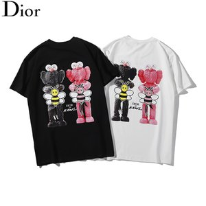 Wholesale 2019 New design DR LOGO Big bee KAWS letters printed T shirt Sports Tshirts Summer Men Women Street Skateboard Short Sleeves Casual top tees