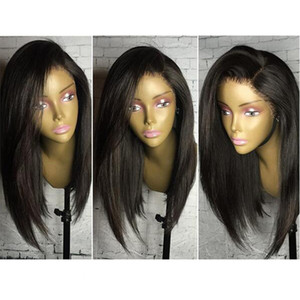 Natural Soft Black Bob Straight Hair Glueless Synthetic Lace Front Wigs For Black Women Heat Resistant Cheap Wigs with Baby Hair