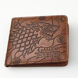"Game of Thrones Stark House Dire Wolf ""Winter is Coming"" TV Show Theme Leather Bi-Fold Wallet with Gift Box"
