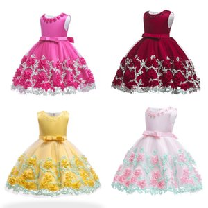 Girl Dress Kids Princess Dress Girls Bow Dress Party Lace Mixed Color Big Bow Flower Sleeveless Round Collar Zipper 6