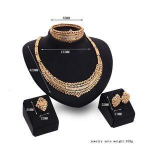 GENBOLI Boho Simple Necklace Earring Bracelet Ring Set Gold Color Rhinestone Nigerian Wedding Jewelry Parure
