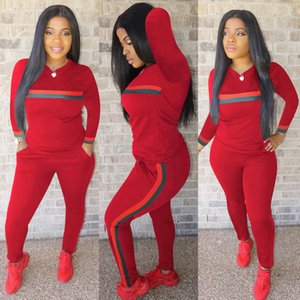 Wholesale Women Tracksuit Two Piece Outfits Long Sleeve Sports Suit Daily Lady Striped Print Tracksuit Sport Sweatsuit Plus Size Women Clothing S XL