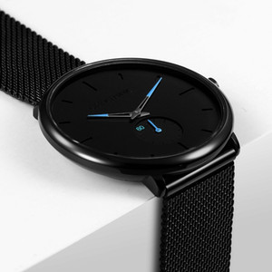 Ultra Thin Creative Black Stainless Steel Quartz Watches Men Simple Fashion Business Japan Wristwatch Clock Male Relogios New J190702