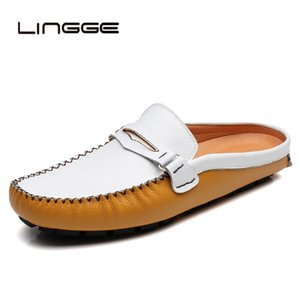 Wholesale LINGGE Mens Slippers Half Shoes Men Slip On Outdoor Spring Summer Mens Shoes Soft Leather Slipper Rubber Male Footwear