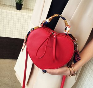 Wholesale Wholesales female bag Korean version of the personality peach heart packet winter new trend silk scarf handbag shoulder