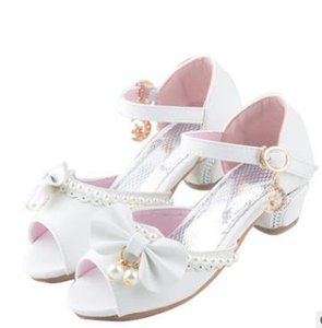 Wholesale 2019 new summer kids shoes Enfants Children Sandals Kids Girls Wedding Shoes Dress Party Pearl Shoes Baby Girls Soft Leather Princess Sandal