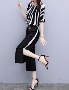 New sales summer high waist vertical stripes chiffon shirt wide leg pants Sets fashion Women's Two Piece Pants on Sale