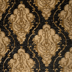 Wholesale texture paper for sale - Group buy Luxury High Grade Black Gold Embossed Texture Metallic D Damask wallpaper for wall Roll washable Vinyl PVC Wall Paper