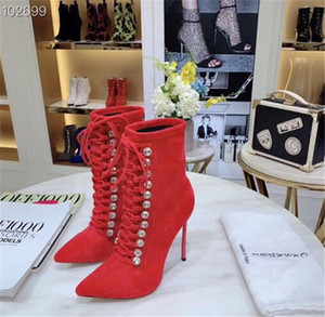 Wholesale Crystal decorative booties ladies sexy high heeled leather pointed toe strap boots elastic boots women half boots