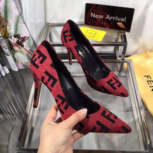 Wholesale 2019 Fashion Luxury Designer Women Dress Shoes High Heels Brown Red Blue Yellow Leather Party Pumps Lady Pointed Toes Wedding Shoes