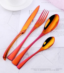 Quality Stainless Steel Tableware Set Of Four Hotel Knife And Fork Spoon Western Food Titanium Plated Tableware 977