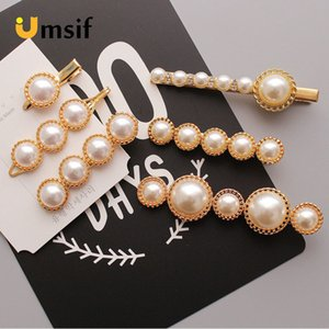 Wholesale 2019 New Women Fashion Metal Pearl Hairpins Lady Simple Hair Clips Barrette Headwear Bun Maker Hair Styling Tools Accessories SH190727