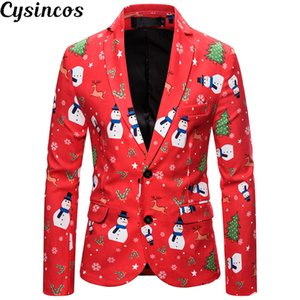 CYSINCOS Newest Christmas Suit Men Slim Fit Fashion Coat Prom Suits with Jacket and Pant Men on Sale