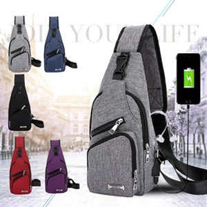 Wholesale Men USB Chest Bags Sling bag Large Capacity Handbag Crossbody Messenger Bags Shoulder Bag Moblie Phone Charger for Business Leisure ZZA235