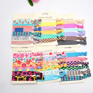 Wholesale 6pcs Multicolor Kid Girls Aztec No Crease Ouchless Elastic Styling Accessories Pony Tail Holder Ribbon Bands
