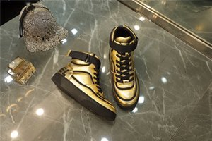 Wholesale 2019 Mens Sneaker Ankle Boots in Calfskin Leather Gold White Black Runner Sneakers Womens Designer ss Boot with box Size