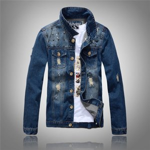 Wholesale New Men s Korean Version of The Self cultivation Denim Jacket Rivet Denim Jacket Blue Personality Trend Hole Lapel Shirt